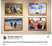 백악관 웨스트윙에 트럼프-김정은 '판문점 만남' 사진 걸려