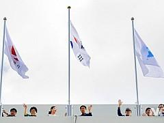 순천시청사에 한반도기 게양···남북평화·화해 분위기 확산